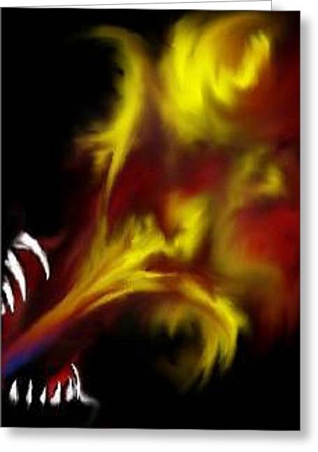 Greeting Card featuring the digital art Dragon Fire by Angela Stout