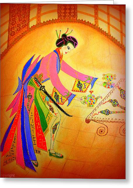 Dragon-geisha Greeting Card