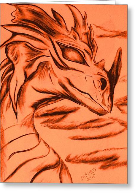 Greeting Card featuring the drawing Dragon In Color by Maria Urso