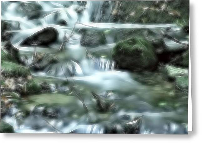 Greeting Card featuring the digital art Dream Forest River by Odon Czintos
