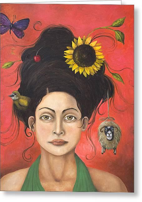 Dream Hair 2 Greeting Card by Leah Saulnier The Painting Maniac