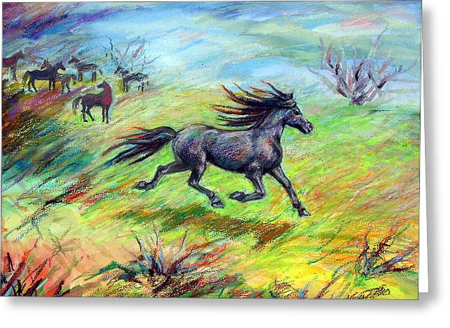 Greeting Card featuring the painting Dream Horse In Flight by Nancy Tilles
