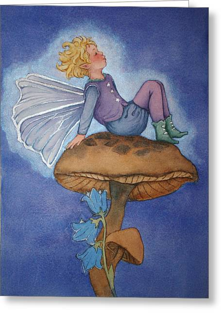 Dreaming Fairy Greeting Card by Leslie Redhead