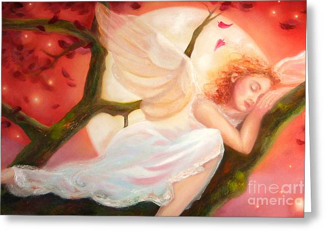 Greeting Card featuring the painting Dreams Of Strawberry Moon by Michael Rock