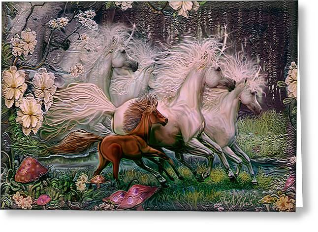 Greeting Card featuring the painting Dreams Of Unicorns by Steve Roberts