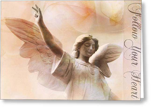 Dreamy Ethereal Angel Art-follow Your Heart Greeting Card by Kathy Fornal