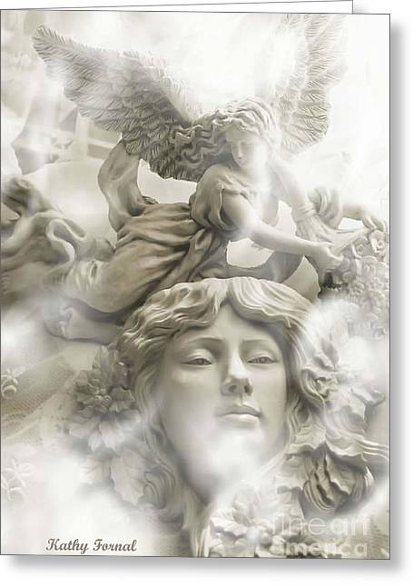 Dreamy Ethereal White Angels And Angel Wings Greeting Card by Kathy Fornal