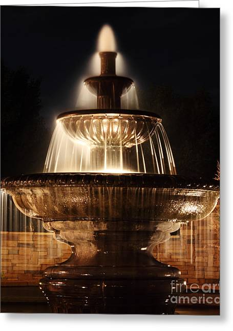 Dreamy Fountain Greeting Card by Val Armstrong