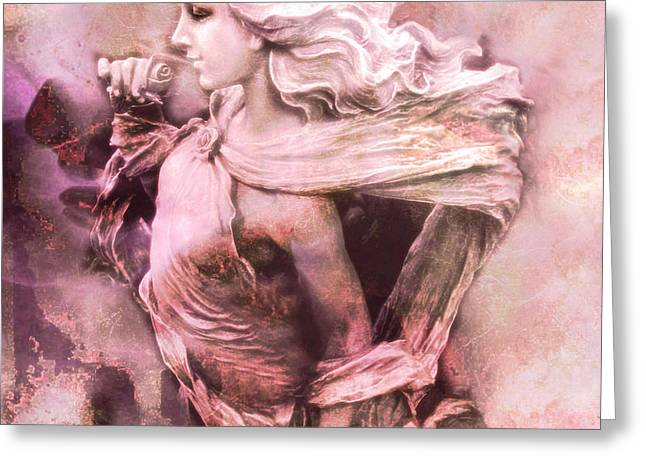 Dreamy Pink Ethereal Angelic Female With Rose Greeting Card