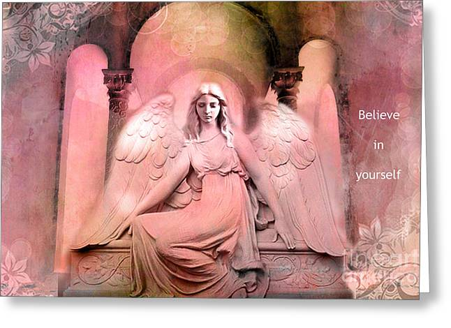 Dreamy Pink Ethereal Inspirational Angel Art  Greeting Card by Kathy Fornal