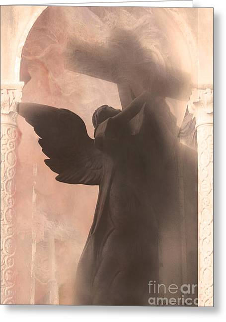 Dreamy Spiritual Ethereal Angel On Cross Greeting Card by Kathy Fornal