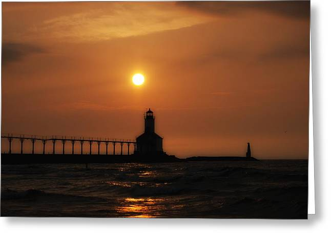 Dreamy Sunset At The Lighthouse Greeting Card