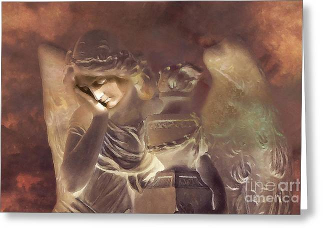 Dreamy Surreal Angel Resting At Peace Greeting Card