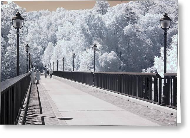Dreamy Surreal Infrared Bridge Walkway Scene Greeting Card