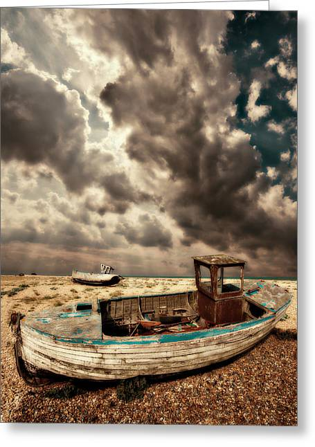 Dreamy Wrecked Wooden Fishing Boats Greeting Card by Meirion Matthias