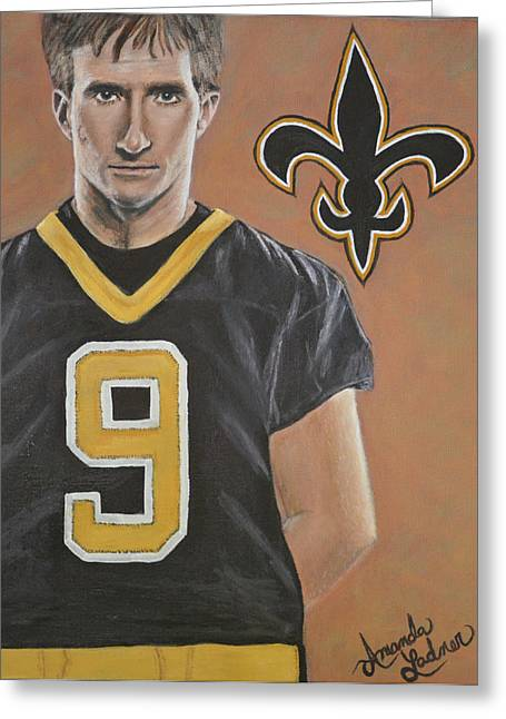 Drew Brees Greeting Card by Amanda Ladner