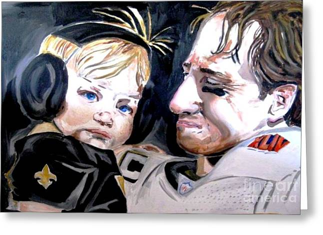 Drew Brees Greeting Card by Patrick Ficklin