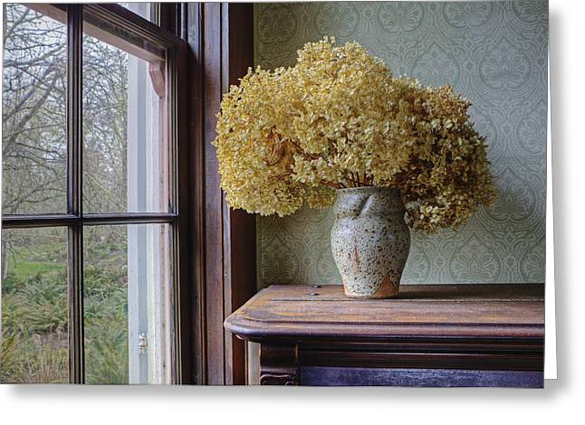 Protestantism Greeting Cards - Dried Flowers In Window Light Greeting Card by Douglas Orton