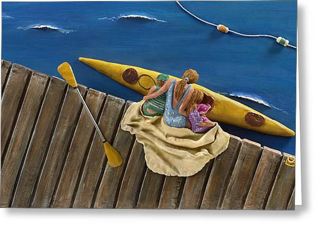 Boats At Dock Mixed Media Greeting Cards - Drifting Off Greeting Card by Anne Klar
