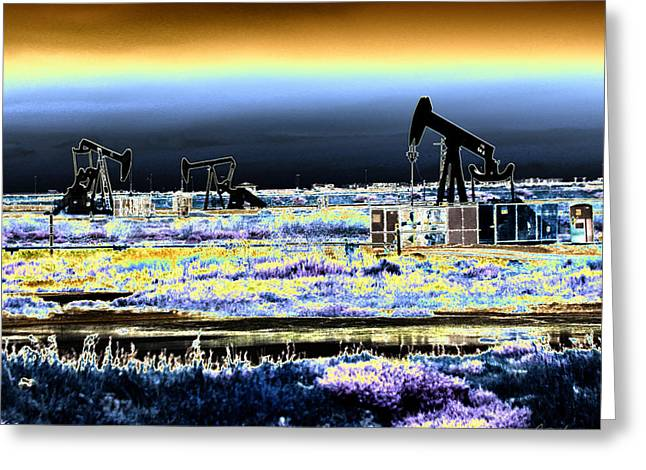 Drilling For Black Gold Greeting Card by Diana Haronis