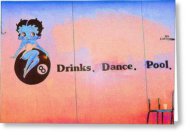 Greeting Card featuring the photograph Drink Dance Pool by Louis Nugent
