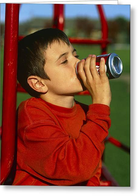 Drinking Soft Drink Greeting Card by Andy Harmer