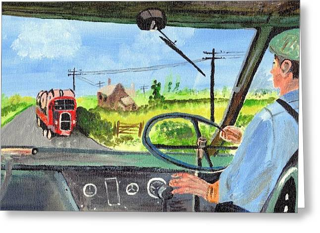 Greeting Card featuring the painting Driving   Yesteryear by Audrey Pollitt