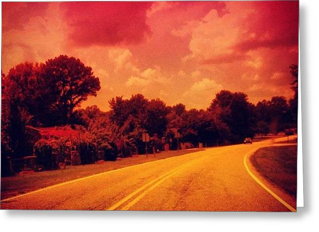 #driving #sky #clouds #road #summer Greeting Card