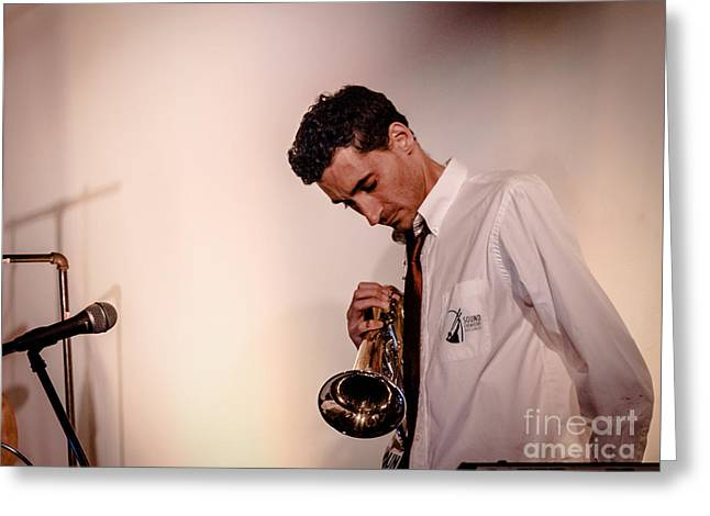 Droid- Jordan Mcclean On Trumpet Greeting Card by Jim DeLillo