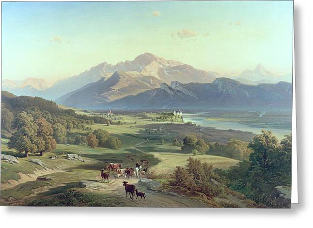 Drover On Horseback With His Cattle In A Mountainous Landscape With Schloss Anif Salzburg And Beyond Greeting Card