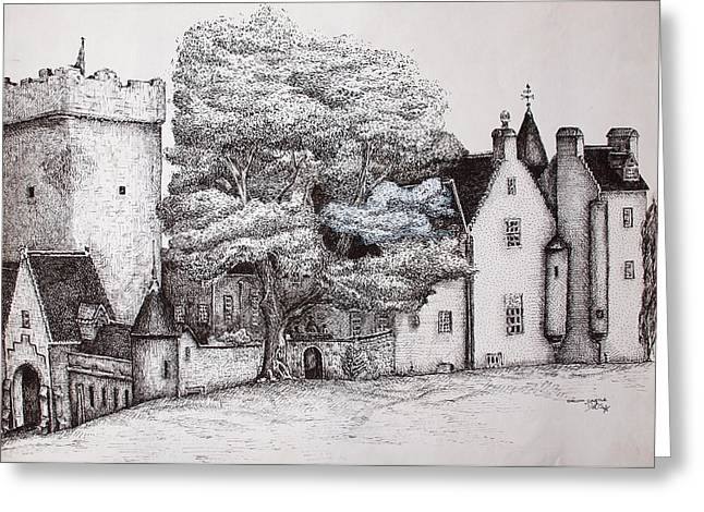 Drum Castle Greeting Card by Sheep McTavish
