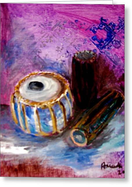 Greeting Card featuring the painting Drums 4 by Amanda Dinan