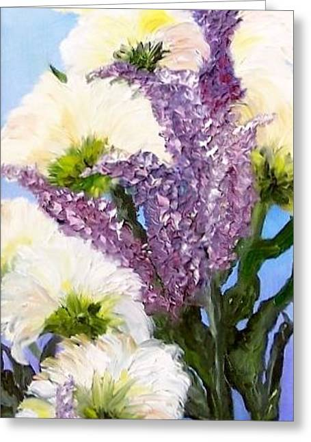 Greeting Card featuring the painting Drunken Flowers by Annamarie Sidella-Felts