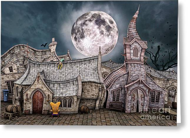 Drunken Village Greeting Card by Jutta Maria Pusl