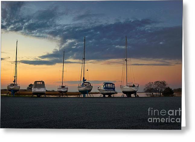Dry Dock Lineup Greeting Card by Susan Isakson