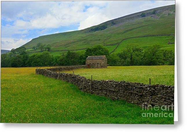 Dry Stone Walls And Stone Barn Greeting Card by Louise Heusinkveld