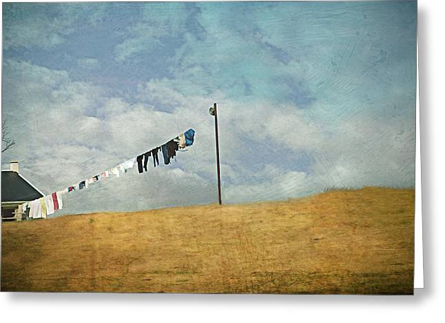 Drying On The Hill Greeting Card by Kathy Jennings