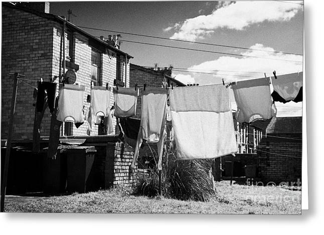 Drying Washing On A Washing Line At The Rear Of Tenement Buildings In Kilmarnock Scotland Uk United  Greeting Card