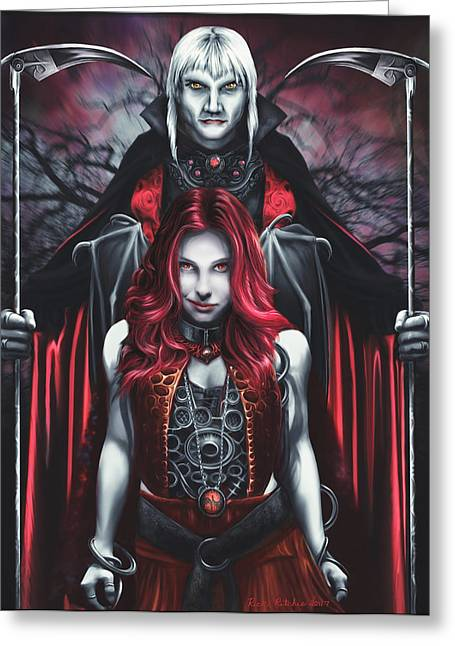 Dual Vampires Greeting Card by Rick Ritchie