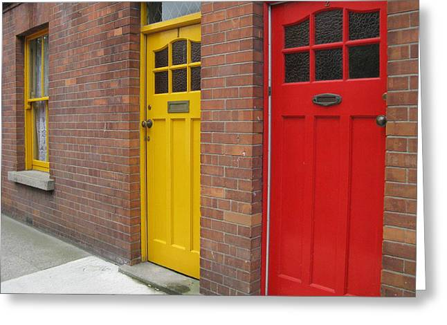 Greeting Card featuring the photograph Dublin Doors by Arlene Carmel