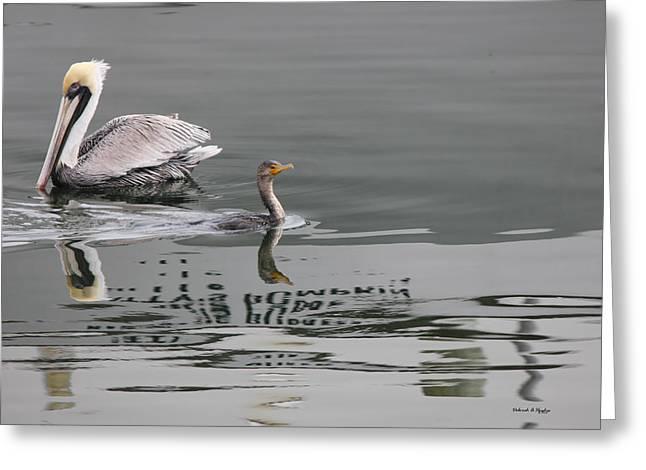 Duck Crossing Greeting Card by Deborah Hughes