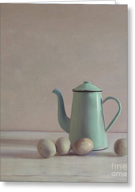 Duck Eggs And Coffee Pot Greeting Card by Paul Grand