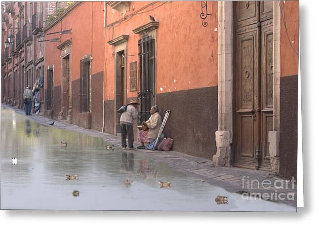 Greeting Card featuring the digital art Ducks Swimming On Calle Reloje by John  Kolenberg