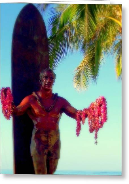 Duke Kahanamoku Greeting Card by Karen Wiles