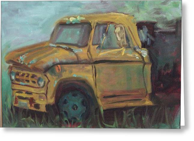 Greeting Card featuring the painting Dump Truck by Carol Berning
