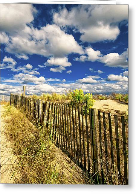 Greeting Card featuring the photograph Dune Fence Me In by Jim Moore