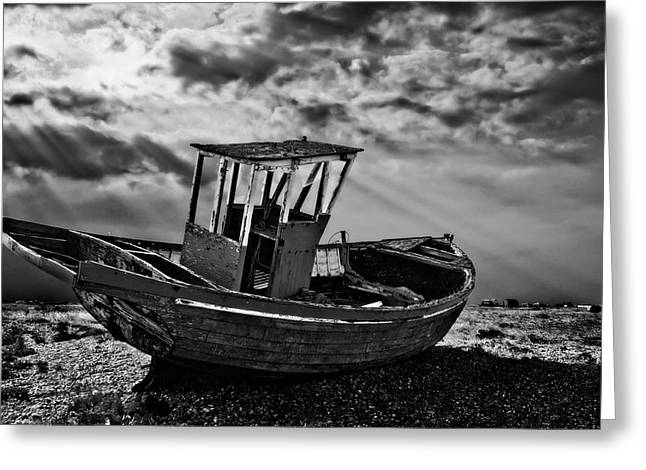 Dungeness In Mono Greeting Card by Meirion Matthias