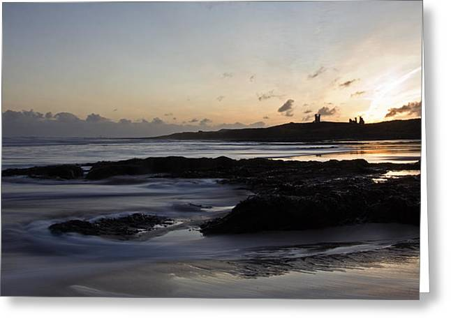 Dunstanburgh Castle Sunrise Greeting Card by David Pringle