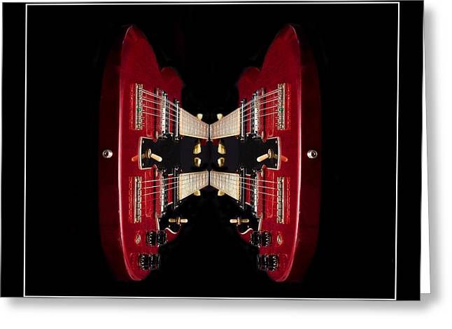 Duo-neck Red Guitar Greeting Card by Trudy Wilkerson
