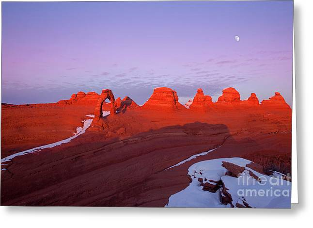 Dusk At Delicate Arch Greeting Card
